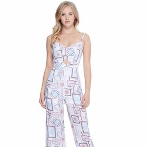 GUESS SOLIANA PRINTED WIDE-LEG JUMPSUIT  L